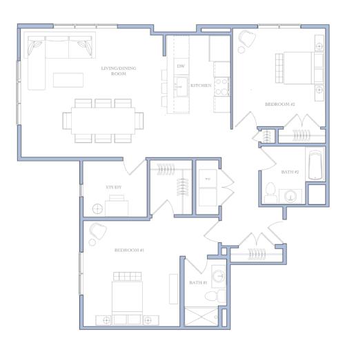 UNIT L - 2 bedROOMS · study1465 sqFRental Price:$1,800 - $1,860