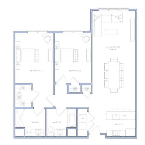 UNIT F - 2 BEDROOMS1112 SQFRENTAL PRICE:$1,450 - $1,460