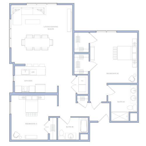 UNIT H - 2 BEDROOMS1391 SQFRENTAL PRICE:$1,750 - $1,760