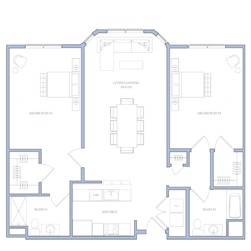 UNIT M - 2 BEDROOMS1272 SQFRENTAL PRICE:$1,550 - $1,610