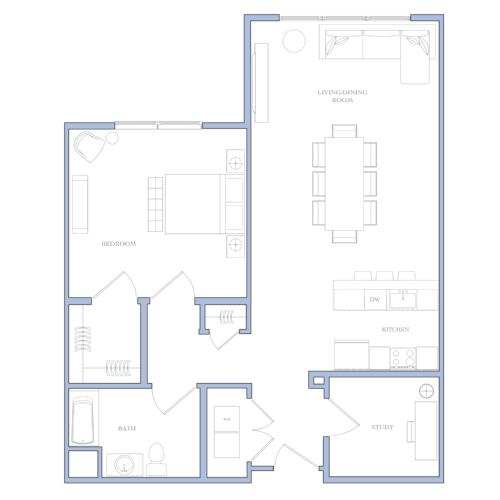 UNIT E - 1 BEDROOM · STUDY860 SQFRENTAL PRICE:$1,350 - $1,410