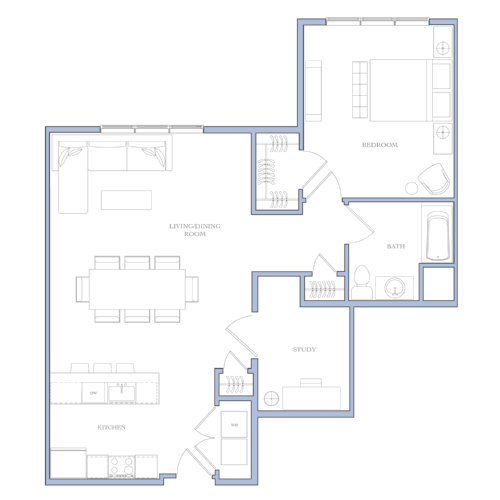 UNIT C - 1 BEDROOM · STUDY979 SQFRENTAL PRICE:$1,350 - $1,360