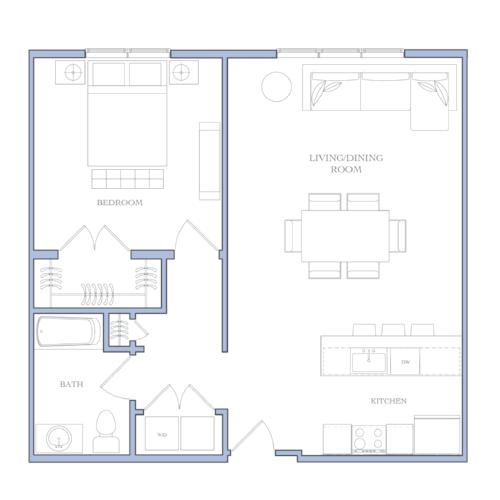 UNIT B - 1 BEDROOM889 SQFRENTAL PRICE:$1,300-$1,360
