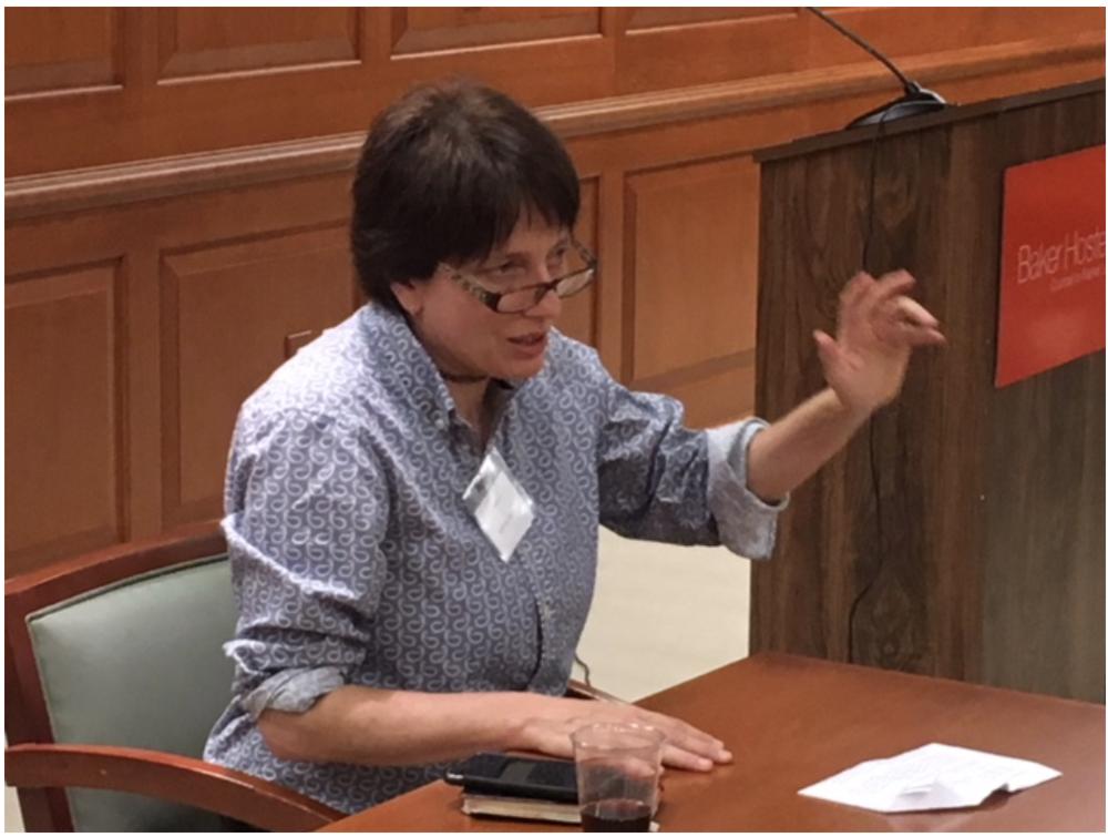 Sabrina Eaton discusses media in the Schweitzer Room of Baker Hostetler.