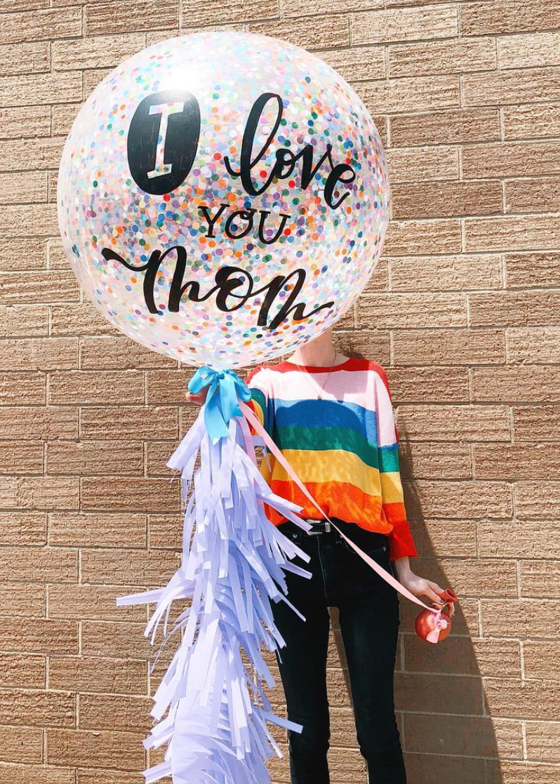 Hand lettered Jumbo Confetti (rainbow) Gustave with The Big Fringe.