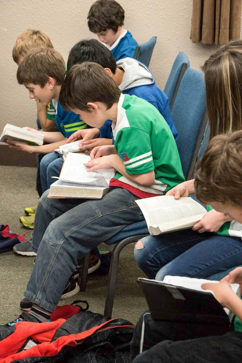 Studying the Bible at Awana