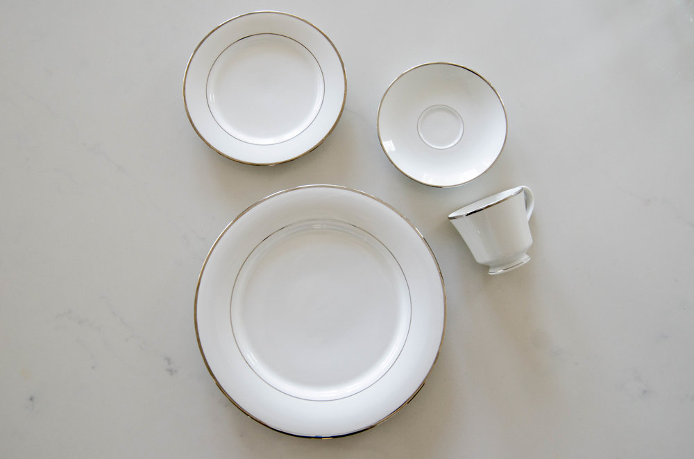 White China with Silver Band