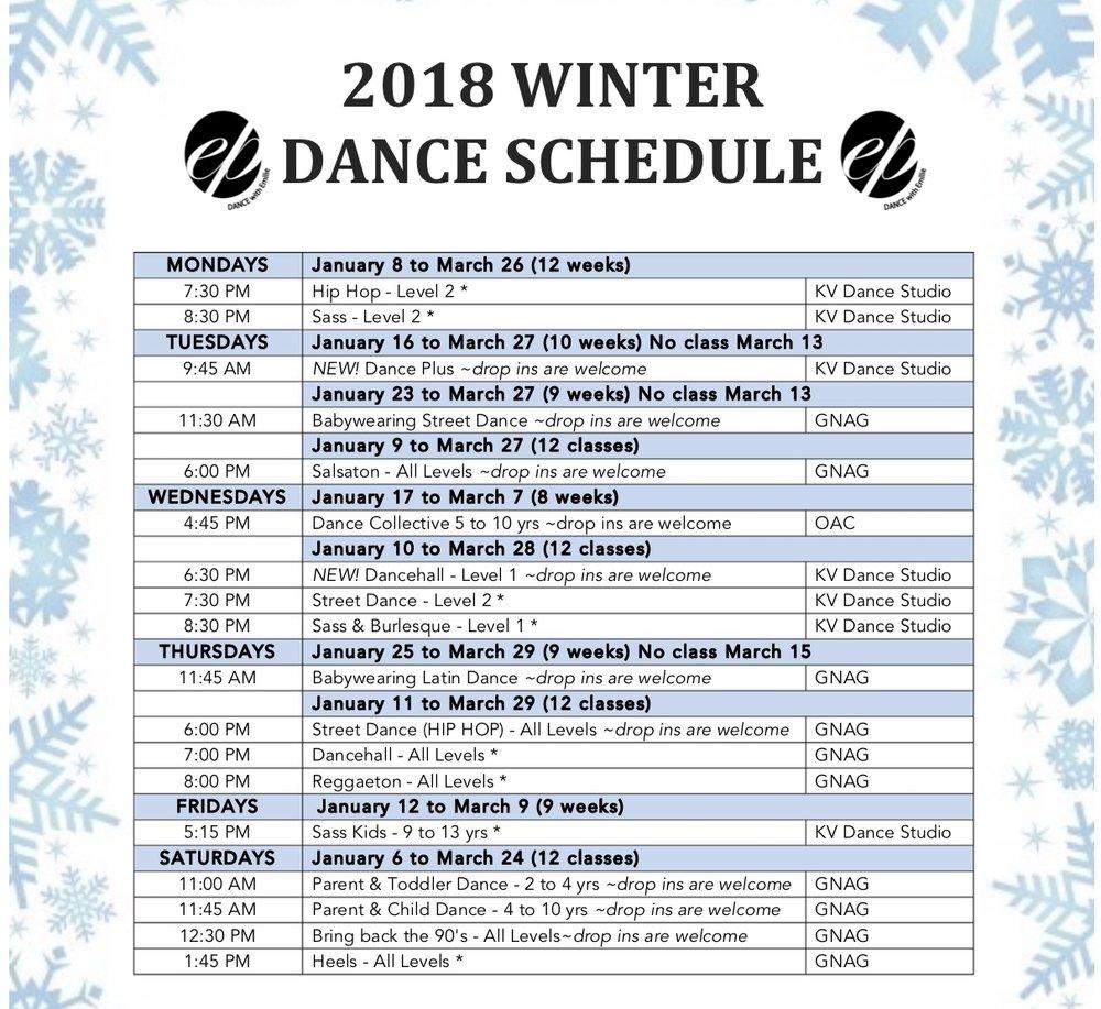 Winter Dance Schedule