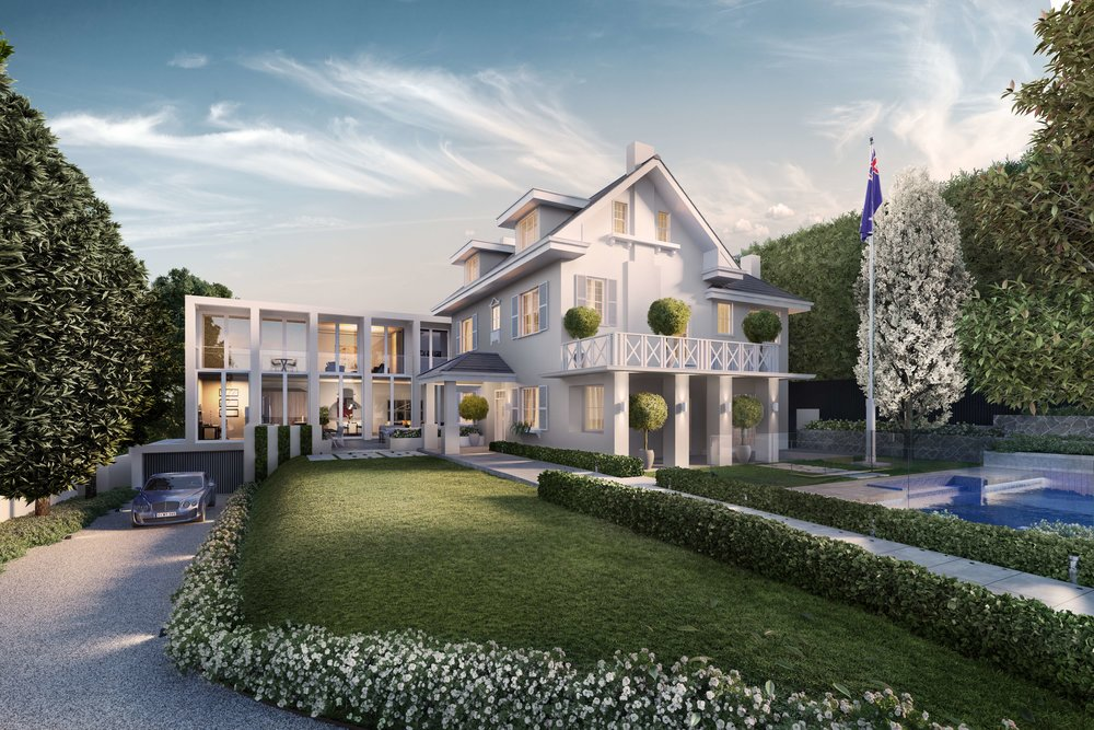 2 Glyndebourne Avenue - Plans and permits ready to create a magnificent mansion incorporating the original homestead with a 6-star modern extension, five bedrooms and a six car basement garage. Four storey property with lift, north facing pool and formal and informal entertaining areas.