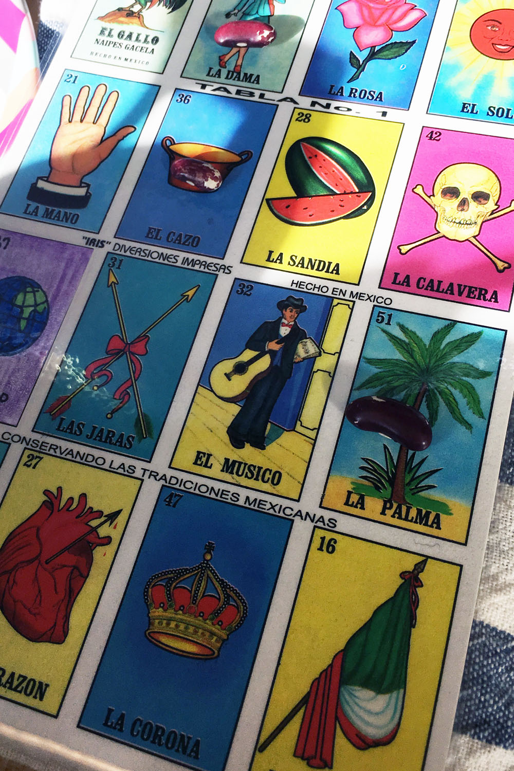 Our trip to Mexico wouldn't have been complete without a game of Lotería (similar to bingo), played with Jacob's Cattle beans to mark our lucky numbers and images.
