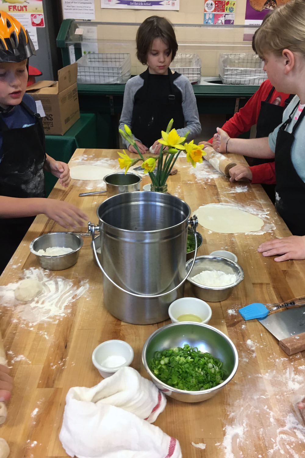 Helmets are a key safety tool in the kitchen classroom ;)