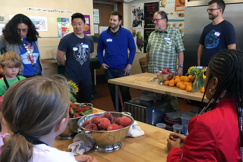 Before cooking together, we went around the circle and shared our name, something we are grateful for, and something we like about being a student at Harvey Milk or working at Salesforce.