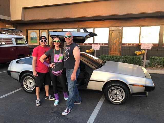 With Julie Simpson and Matt Medrano and The DeLorean for 80's night at Vincitorio's this past Saturday.
