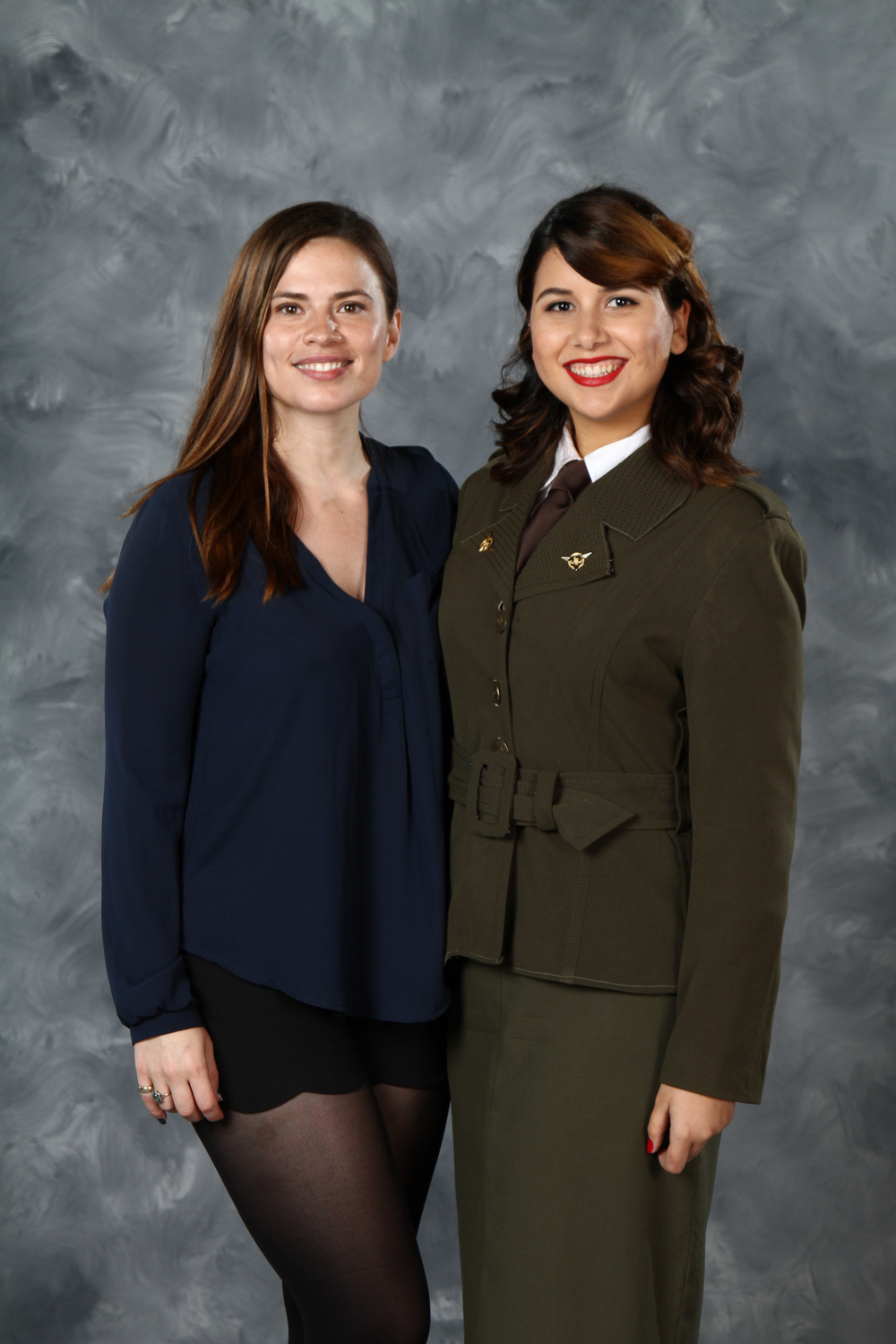 "A 40's inspired cosplay makeup for Agent Peggy Carter from the Marvel film ""Captain America: The First Avenger"" alongside actress Hayley Atwell."