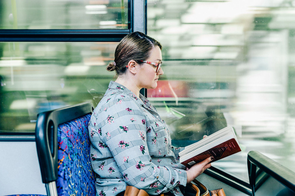 Woman commuting on bus in Adelaide city