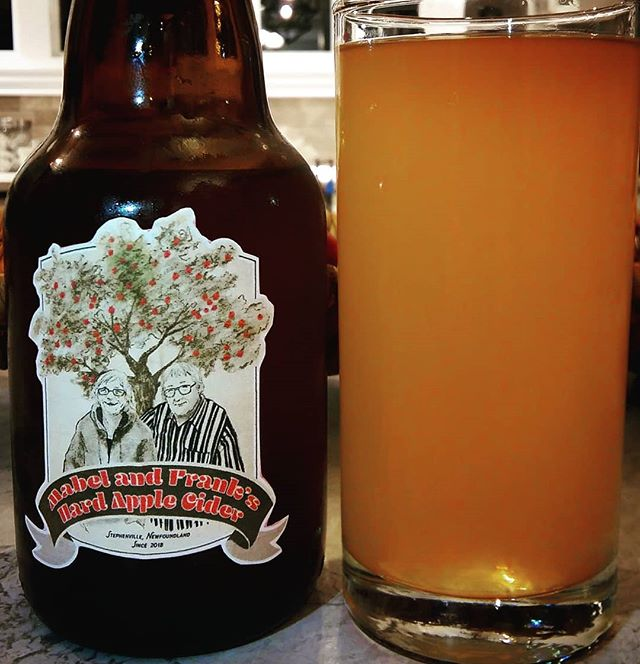 The cider is finally ready! We named it Mabel and Frank's Hard Apple Cider after our generous and friendly neighbours. They graciously gave us the apples from their tree to make this happen. (And they will be enjoying a few sips, I imagine.) Boy, is it tart! Just the way I like it. Label by the talented @rolling.peach.  #cider #hardcider #fall #harvest #applecider #crabapples #diy #booze #drinking
