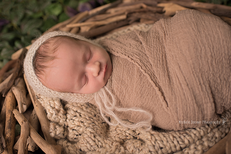 a newborn lies wrapped in a brown layer with cream bonnet on a knitted blanket in a wood branch nest with green leaves in the background
