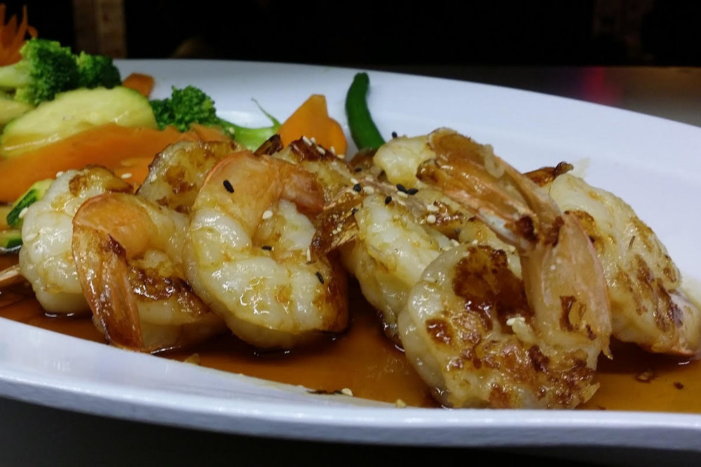 Shrimp Terriyaki  - Grilled Shrimp with Mixed Vegetables and Teriyaki Sauce.