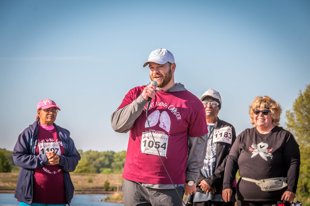 Founder of The Huff Project, Stephen Huff, speaking at a ALCF 5K Walk/Run