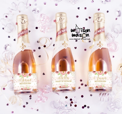 I love these champagne bottles with custom labels from Maison Mason in London! Check out their etsy shop  here