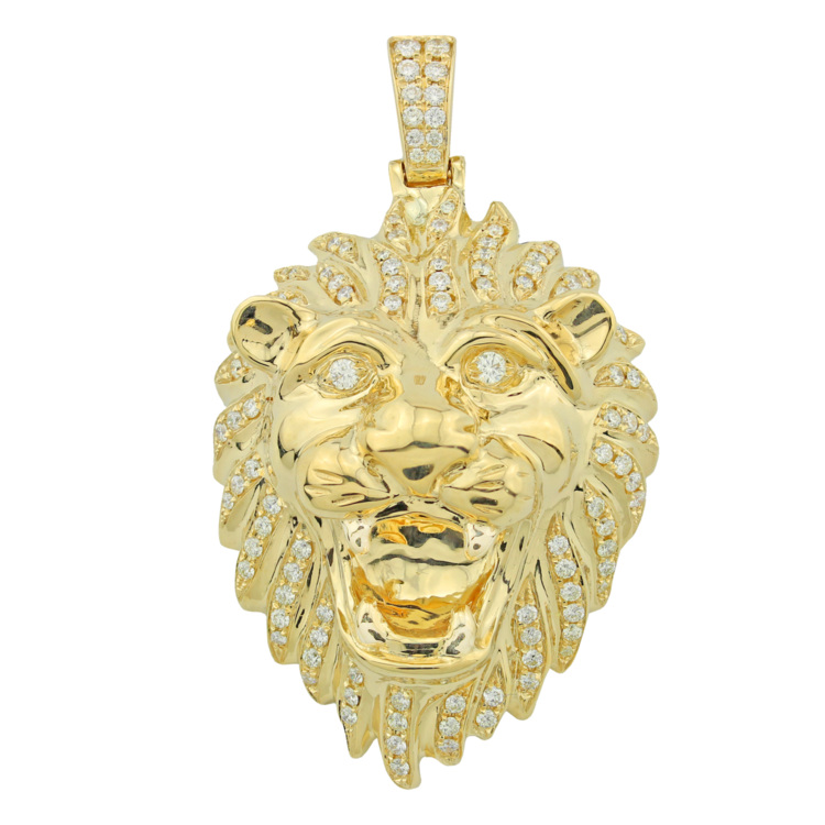 14k gold lions head diamond pendant iced out mike 14k gold lions head diamond pendant aloadofball Choice Image