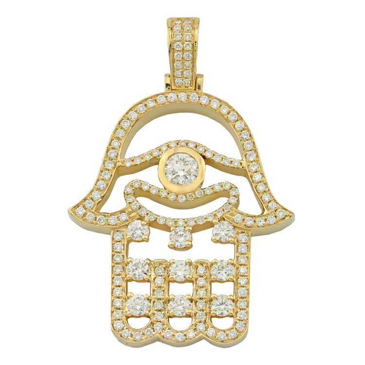 diamond product hamsa necklace pendant