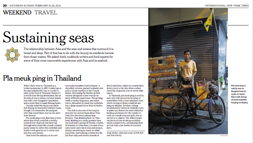 "Photo: ""Plaa meuk ping in Thailand"",  New York Times ."