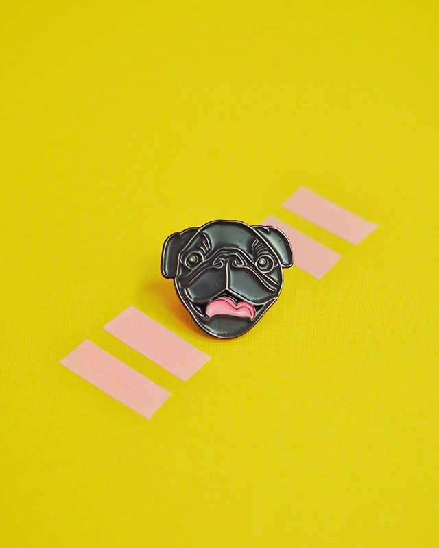 👅: it's saturday and your only goal today is to be as happy as this pug is. 🛍: pin by @dog.candy.shop