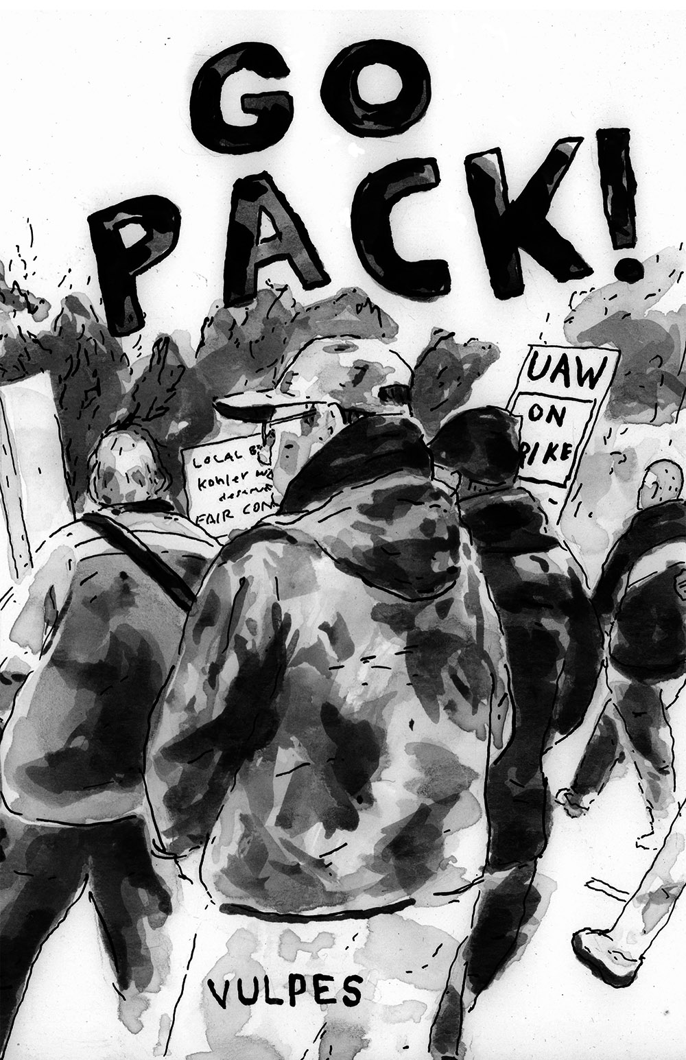 Go Pack!   Go Pack! is a comic by Vulpes. It follows his brief excursion to Kohler, WI during the UAW strike at the Kohler factory in November 2015. Features an anachronistic company town, cold weather solidarity and a bunch of fun accents.