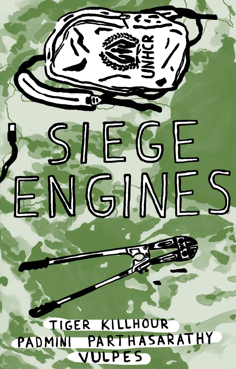 "Siege Engines   Siege Engines is a comic created by Tiger Killhour, Padmini Parthasarathy and Vulpes. It focuses on the struggle of migrants passing through the so-called ""Balkan Route"" and the decentralized, horizontal mutual aid networks along the way."