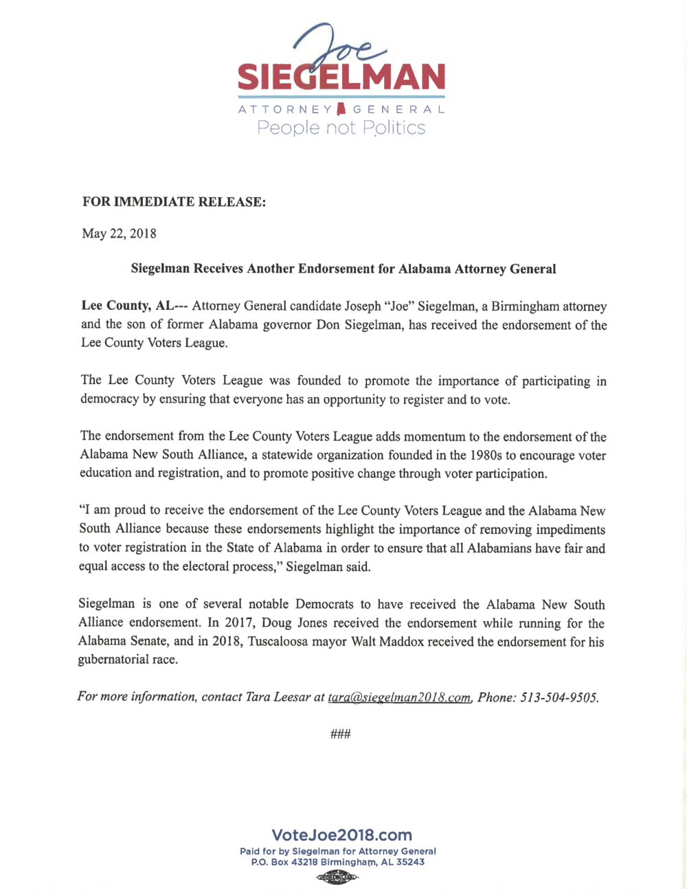 Siegelman Lee County Voters League Endoresement Press Release (2).png