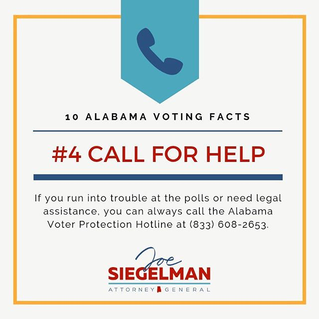 If you experience trouble at the polls, you can get immediate legal help!  #vote #getoutthevote #alpolitics