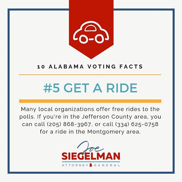 Need to vote but not sure how to get to your polling place? Get in touch with your County Party to see if they're offering rides to the polls!  #vote #getoutthevote #alpolitics
