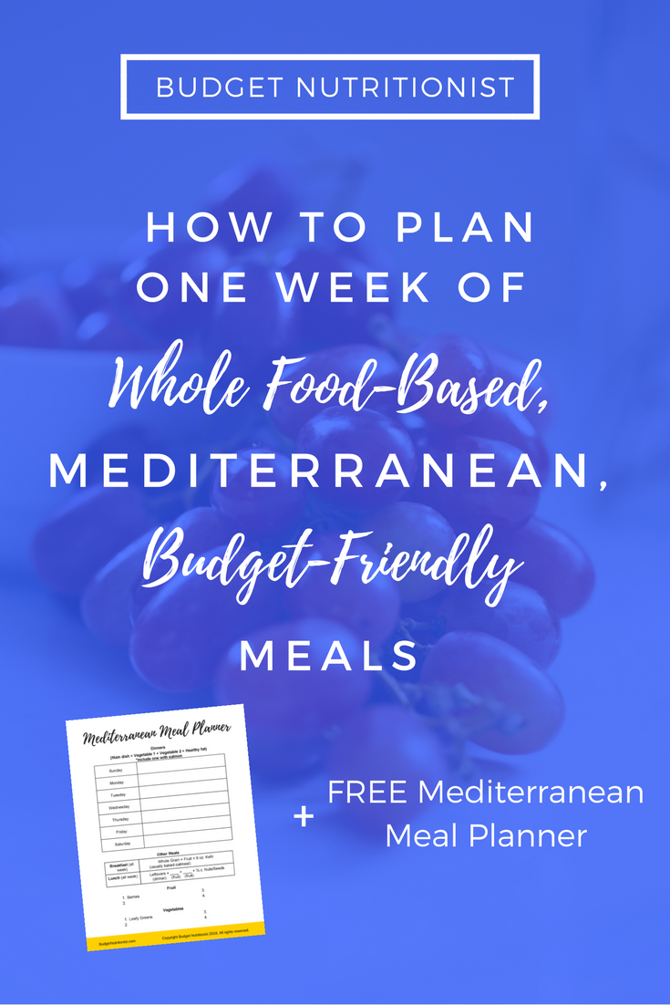 Mediterranean diet | Meal planning on a budget | Meal planning printable