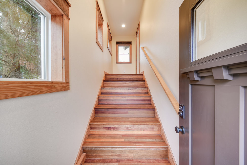 Front stairs with reclaimed wood