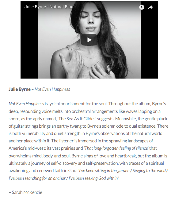 Review of Julie Byrne's album 'Not Even Happiness'