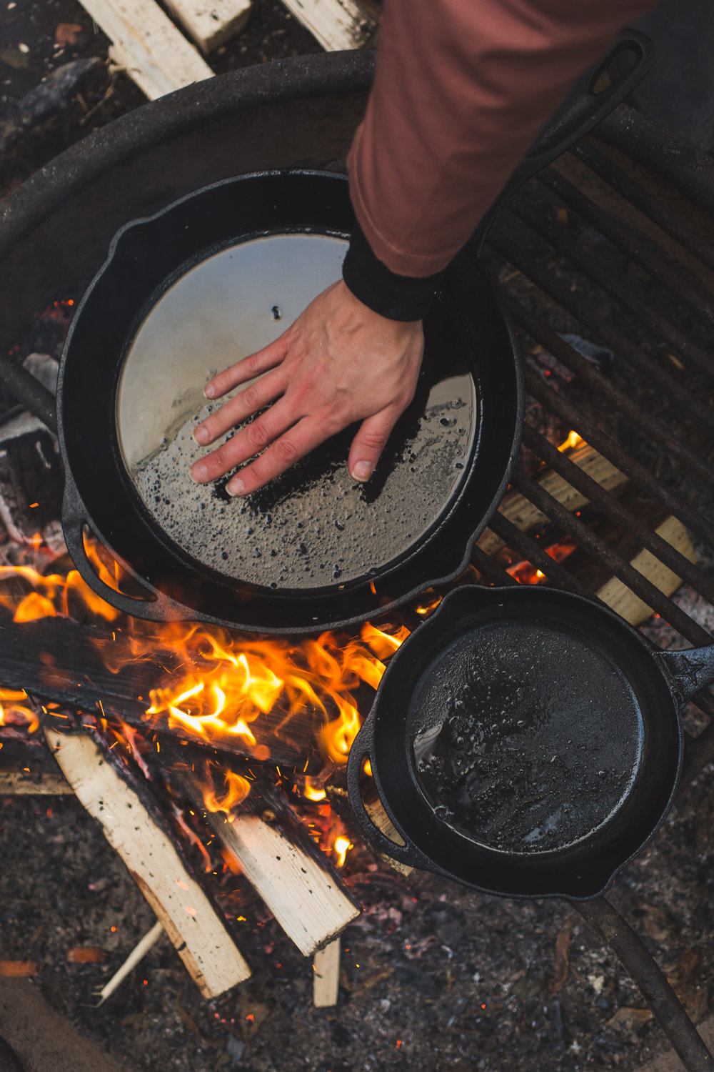 testing a cast iron skillet for heat