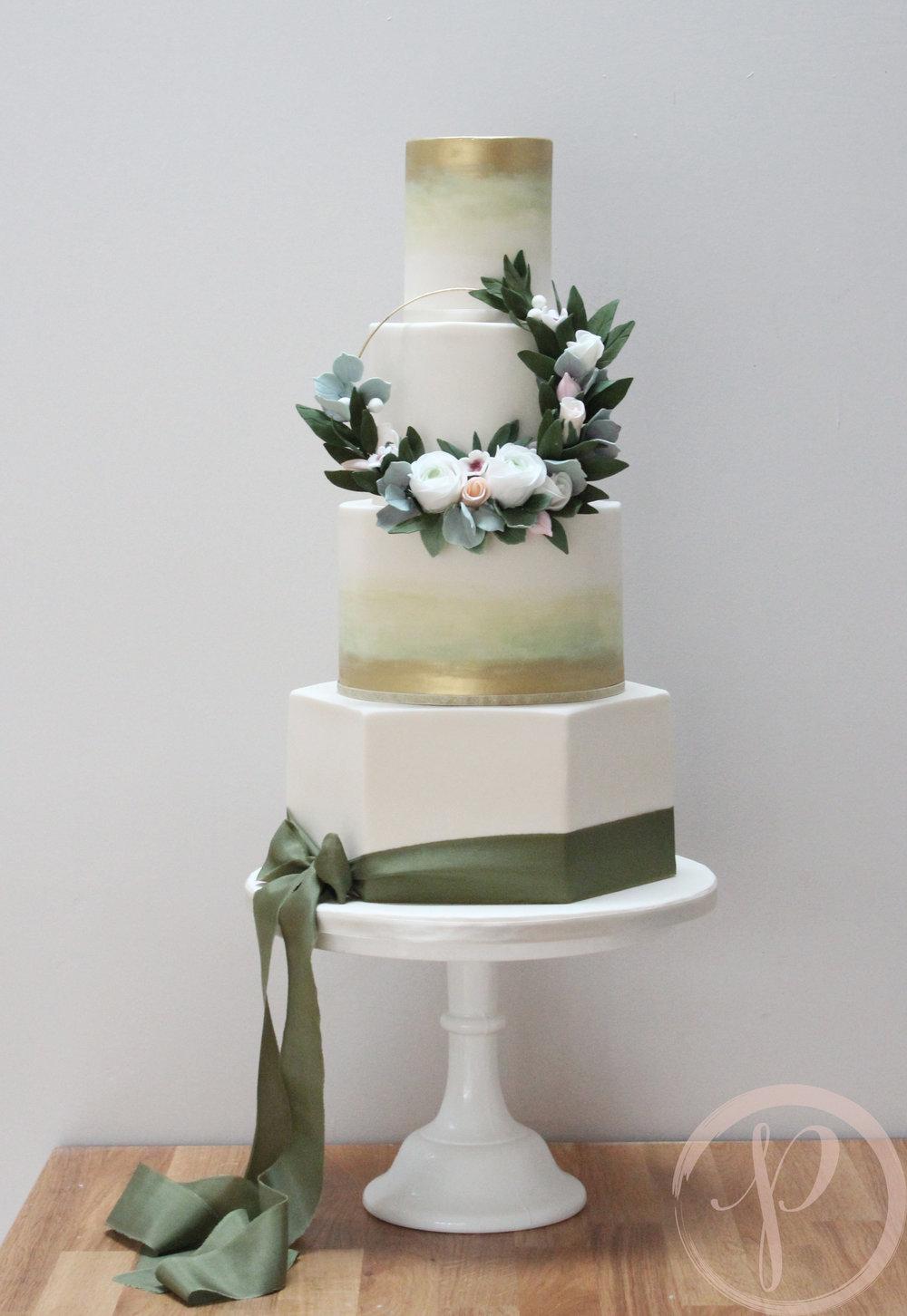 modern sage green gold hoop wedding cake.jpg