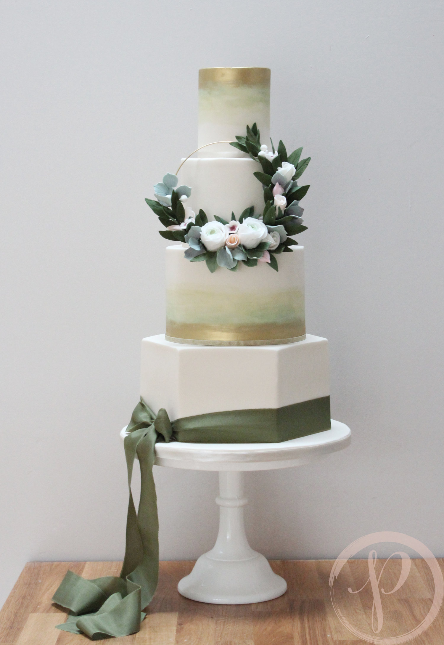 Hexagon Wedding Cake With A Floral Hoop The Pink Cake Box Wedding