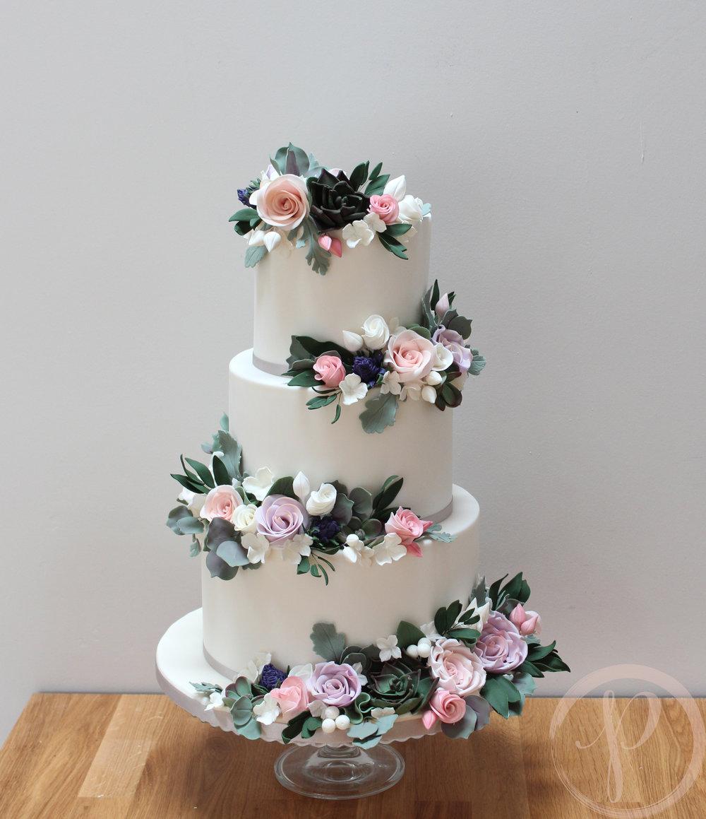 sugar flowers wedding cake thistle succulent roses foliage.jpg