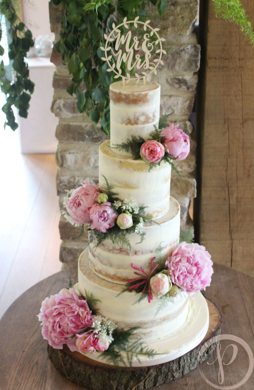 pretty pink peony semi naked wedding cake.jpg