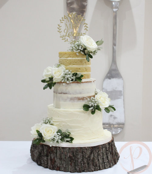 Gradiented naked wedding cake with fresh flowers for Emma and Mick ...