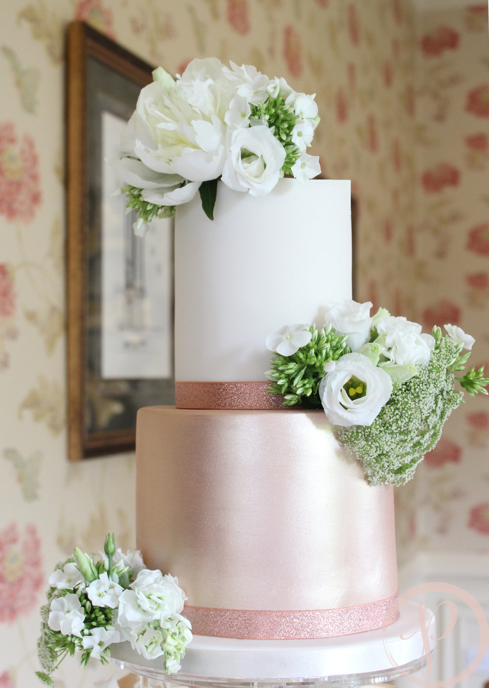 rose gold and ivory small intimate wedding cake.jpg