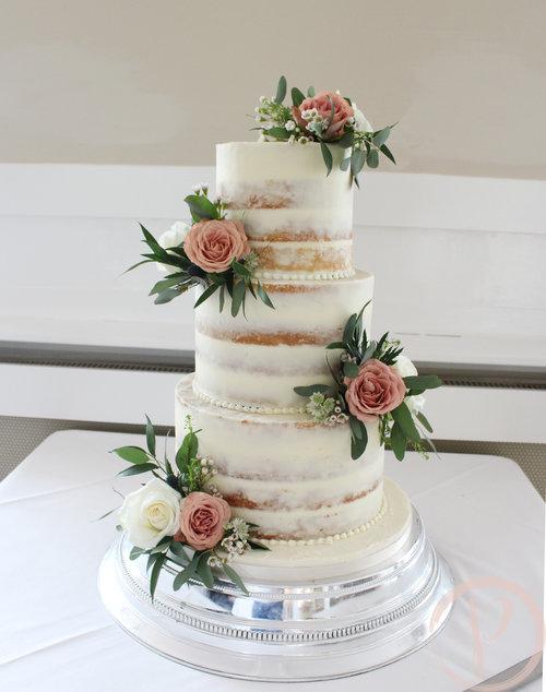 Semi naked wedding cake with fresh flowers for liz and si the pink semi naked wedding cake dusky pink rosesg mightylinksfo