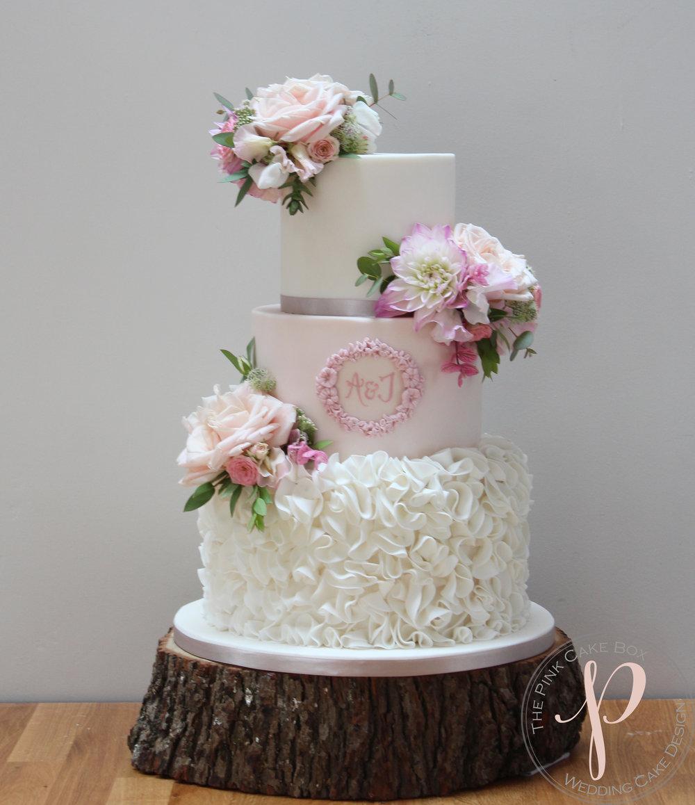 calligraphy blush dusky ruffles wedding cake.jpg