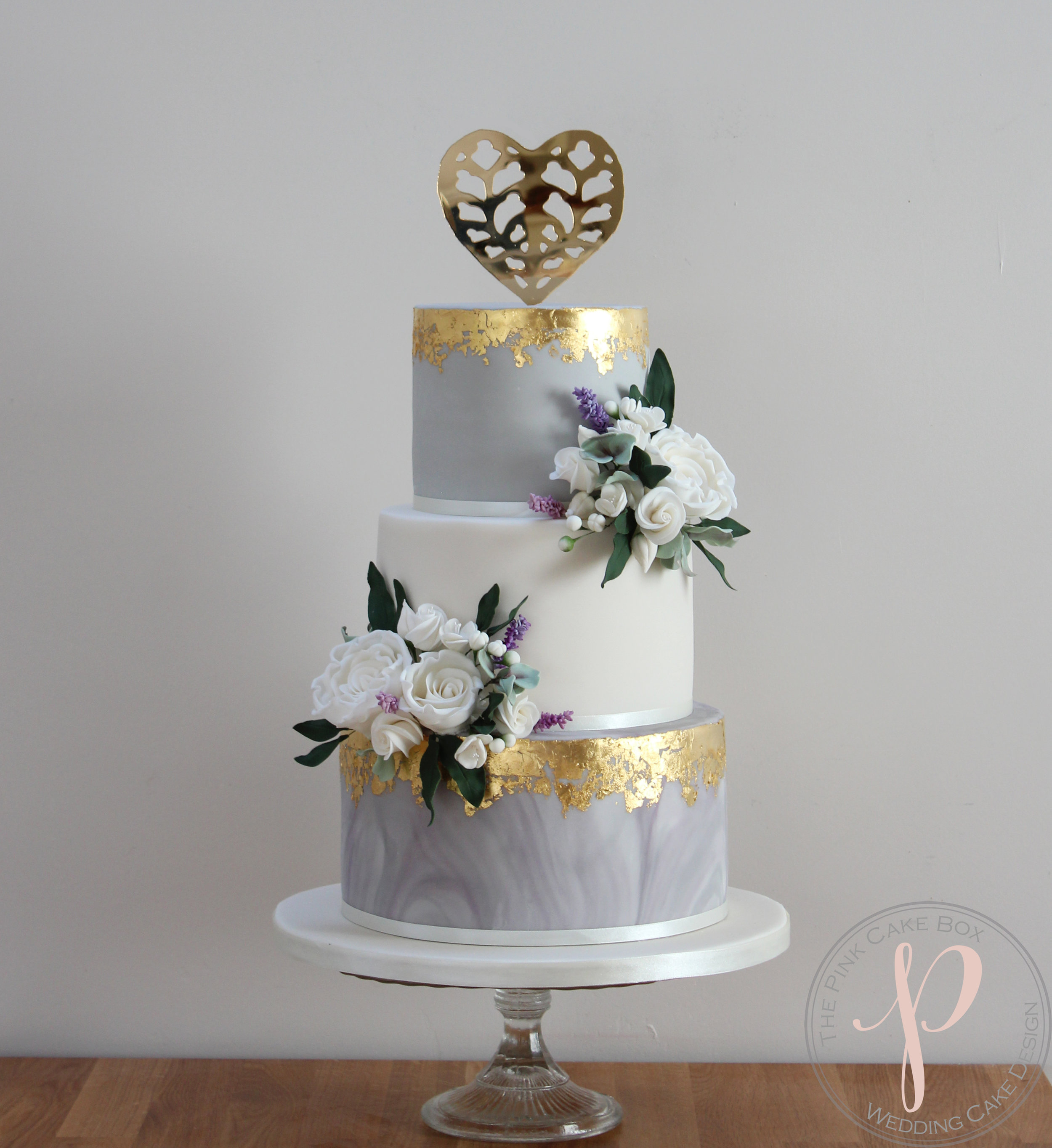 Grey And Gold Leaf Wedding Cake With Sugar Flowers For Gemma And Matt At Tissington Hall The Pink Cake Box Wedding Cake Design