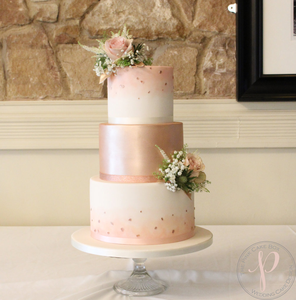 blush and rose gold wedding cake with fresh flowers.jpg