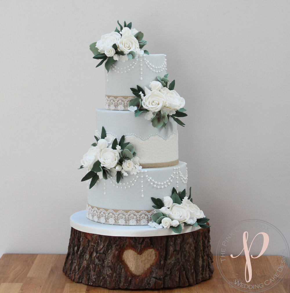 vintage blue wedding cake pearls lace sugar flowers.jpg