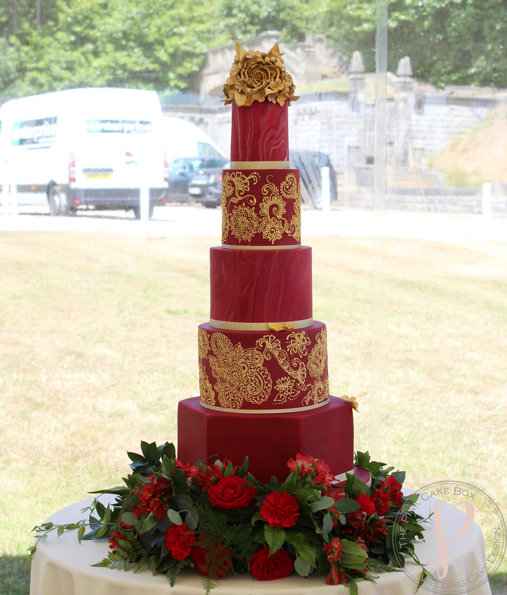 Ruby Red And Gold Henna 5 Tier Wedding Cake With Sugar Flowers For