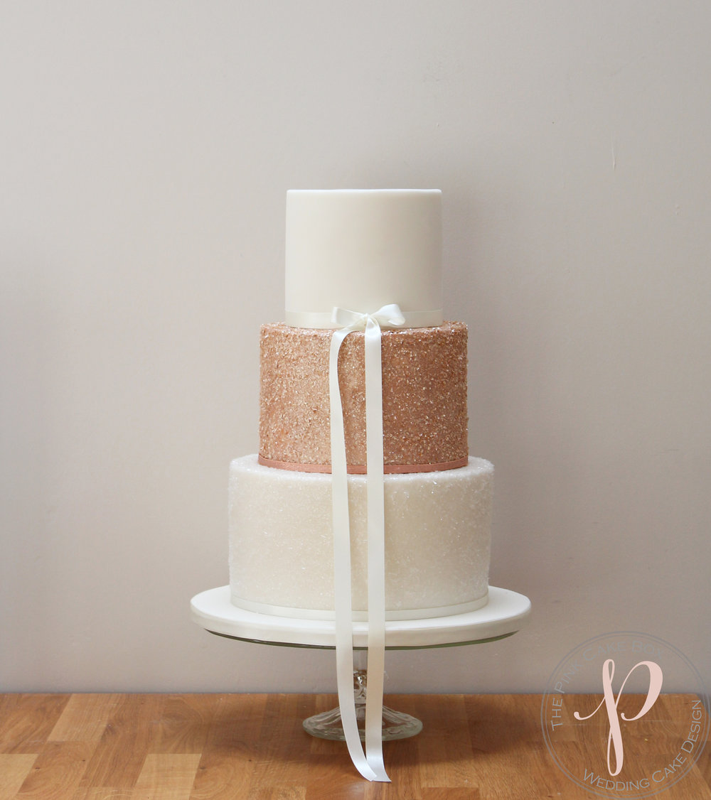 rose gold sparkle wedding cake.jpg